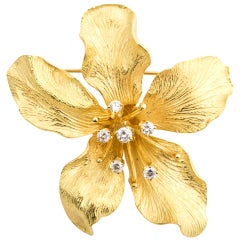 Tiffany & Co. 18 Karat Yellow Gold Diamond Sculpture Orchid Brooch Pin