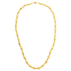 22 Karat Yellow Gold Fluted Links Necklace Screw Clasp