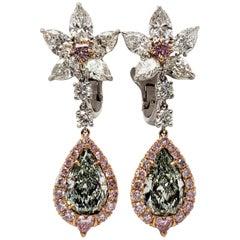 Scarselli 3.30 Carat Fancy Green Pear Shape Diamond Drop Earrings with-GIA