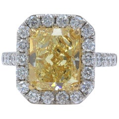Fancy Brownish Yellow Cushion VS1 Diamond Ring Halo 6.18 Carat Platinum