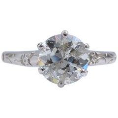 Old Cut Diamond Solitaire Engagement Ring 1.93 Carat 18 Karat White Gold