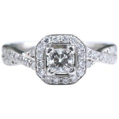 Princess Halo Twisted Diamond Engagement Ring 14 Karat White Gold 1 Carat
