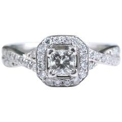 Princess Halo Twisted Diamond Engagement Ring 14 Karat White Gold 1 Carat