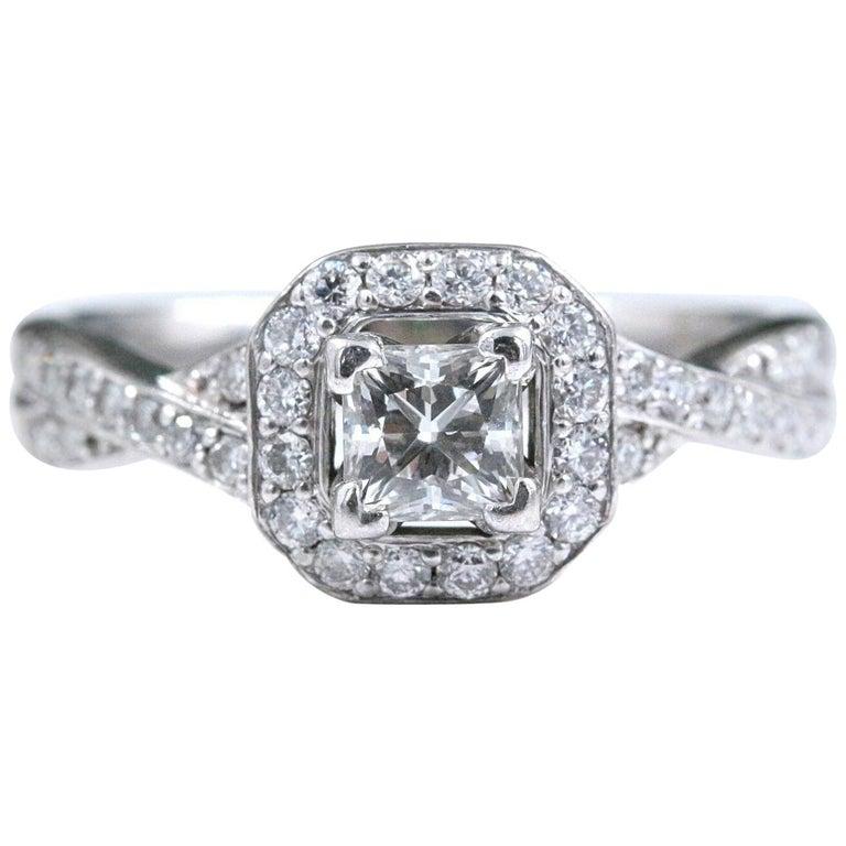 Princess Halo Twisted Diamond Engagement Ring 14 Karat White Gold 1 Carat For Sale