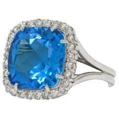Big Blue Topaz Diamond Halo Cocktail Ring 14 Karat White Gold Square Cathedral