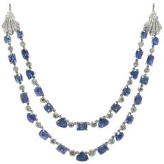 Art Deco 40 Carat Certified Natural Blue Sapphire Diamond Bib Necklace Estate