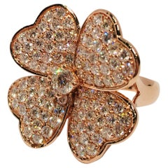 Lucky 4 Leaf Clover 3.33 Carat Diamond Large Shamrock Stunning Rose Gold Ring