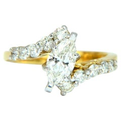 GIA Certified .77 Carat Marquise Shape Diamond Ring 14 Karat
