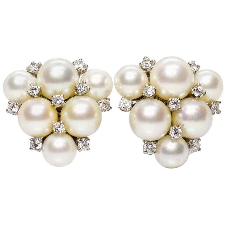 Estate 18 Karat White Gold Carvin French Pearl and Diamond Cluster Earrings For Sale