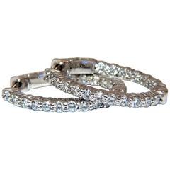 1.37ct natural round diamonds elongated inside out hoop earrings button 14 karat