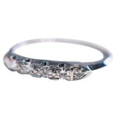 Vintage Thin White Gold Six Diamond Ring