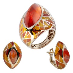 Spessartine Garnet Enamel 18 Karat Yellow Gold Suite