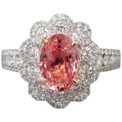 Unheated 2.65 Carat Padparadscha Sapphire and Diamond Ring