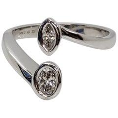 Kian Design 18 Carat White Gold 0.42 Carat Two Diamonds Engagement Ring
