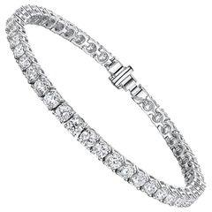 Diamond Tennis Bracelet 9.75 Carat 14 Karat White Gold