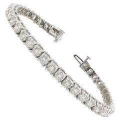 9.75 Carat Round Diamond Tennis Bracelet 14 Karat White Gold
