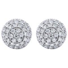 Round Diamond Pave Stud Ball Earrings 6.62 Carat in 18 Karat White Gold