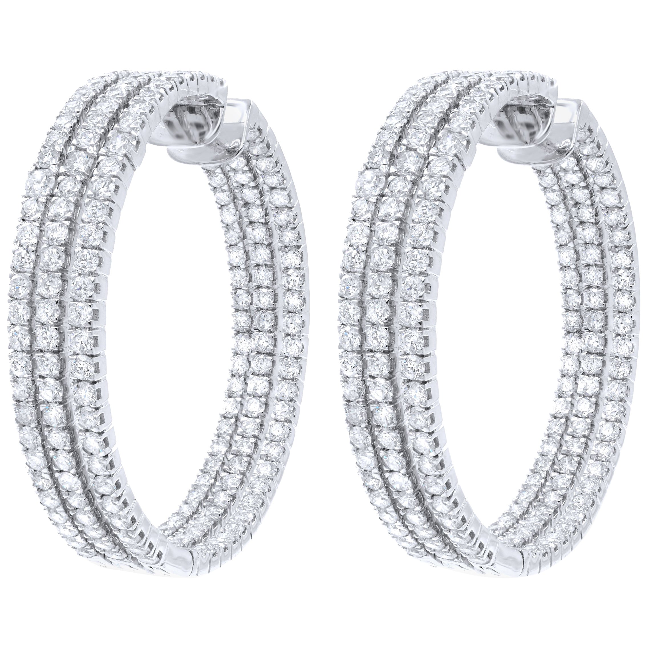 Triple Row Diamond Hoop Earrings 8.33 Carat in 18 Karat White Gold