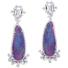 Set in 18 Karat Gold with Baguette Diamonds Australian Doublet Opal Earrings