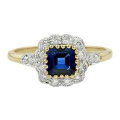 Blue Sapphire Diamond Cocktail Ring