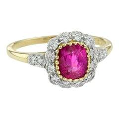 Natural Unheated Burmese Ruby Diamond Cocktail Ring