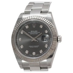 Rolex Datejust 41 Ref 126334 Steel Rhodium Diamond Dial