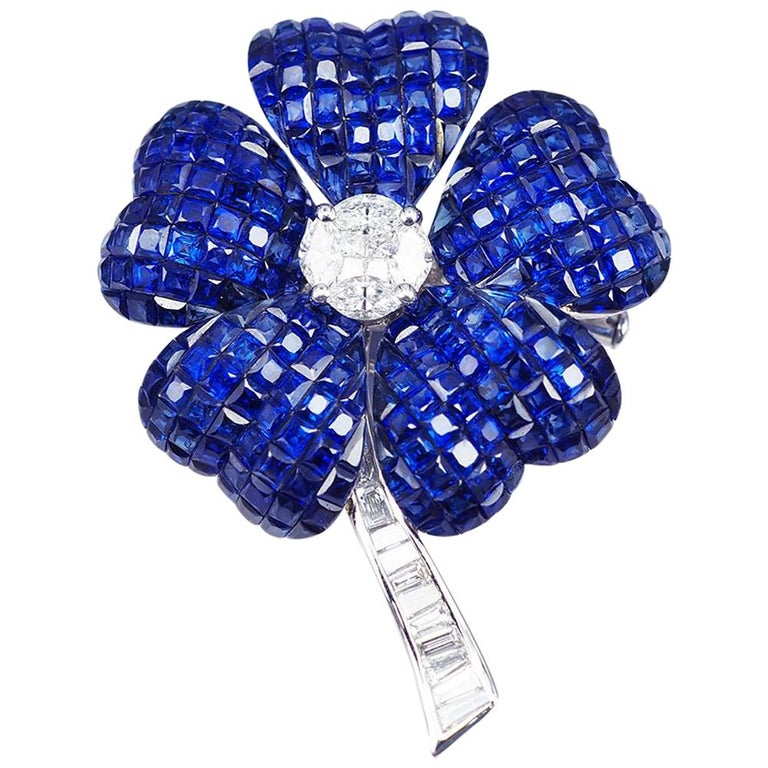 Blue Sapphire Invisible Flower Brooch For Sale