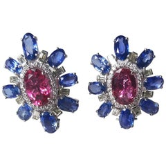 Set in 18 Karat Gold, Pink Tourmaline, Blue Sapphire and Diamond Stud Earrings