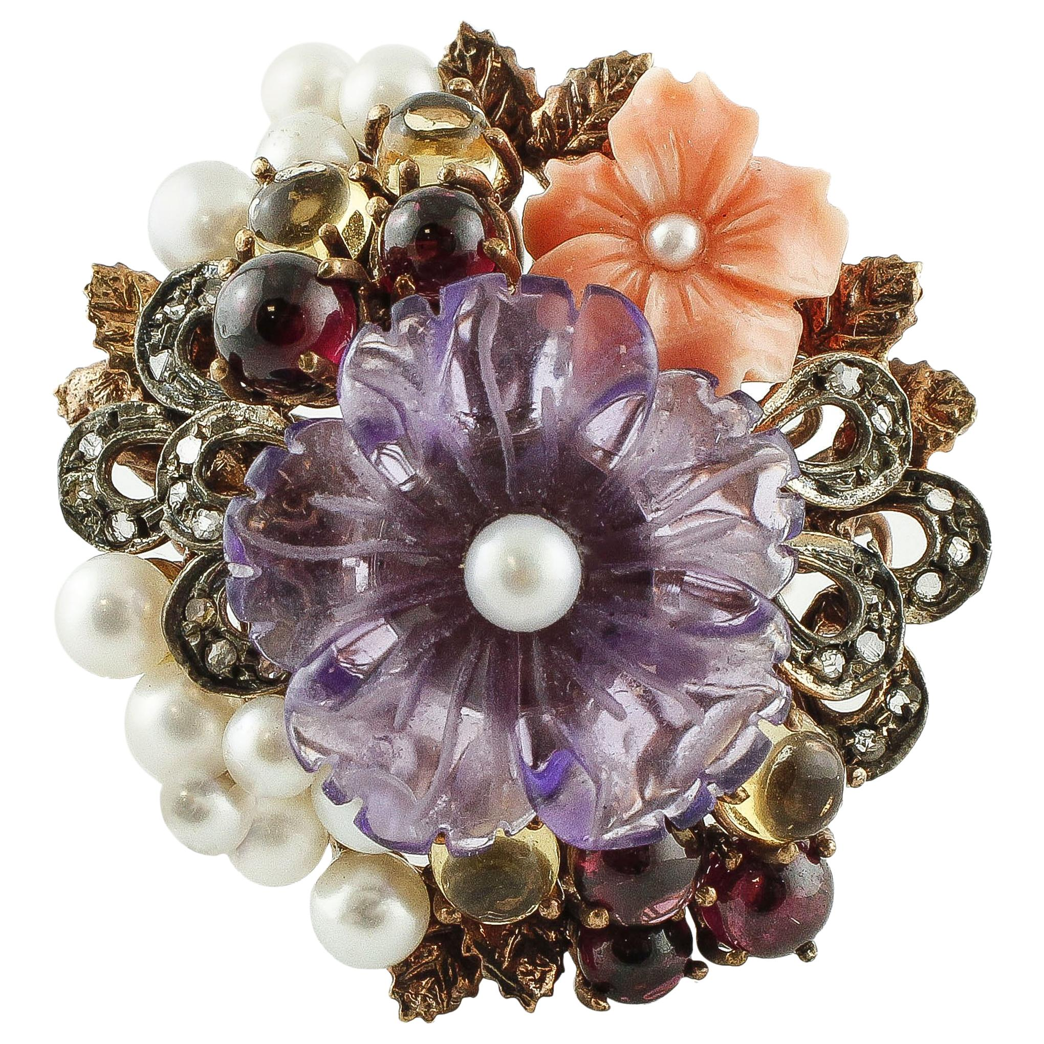 Diamonds Pearls Coral Topèazes Garnet Amethyst Rose Gold and Silver Ring