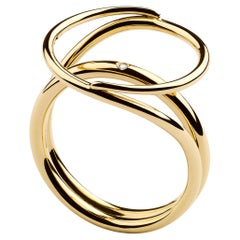 Misui Large Fluent Ring in 18 Karat Gold with a White Diamond