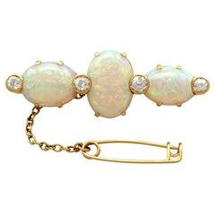 Victorian 8.74 Carat Opal and Diamond Gold Brooch