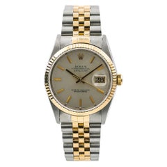 Rolex Datejust 16233 Men's Automatic Watch Silver Dial 18k Two-Tone
