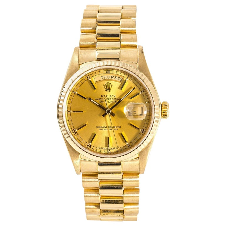 Rolex Day-Date 18038 Men's Automatic Watch Champagne Dial 18 Karat YG For Sale