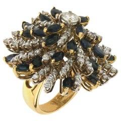 Diamonds 18 Karat Yellow Gold, Sapphires, Cocktail Ring