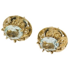 Aquamarine Earrings in 14 Karat Gold, Germany, circa 1950
