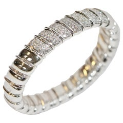 Solid 18 Karat White Gold Luxury Bangle, Bracelet Set with Diamonds