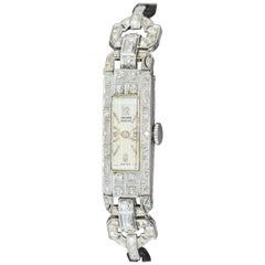 Enchanting Art Deco Platinum Ladies Wristwatch with Diamonds, Valmon Geneve
