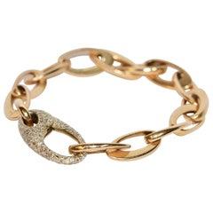 Beautiful Designer Chain Bracelet Made by Pomellato, 18 Karat Gold with Diamonds
