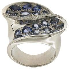 Tanzanite, 18 Karat White Gold, Diamonds, Cocktail Ring