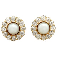 Antique Victorian Pearl Diamond and Yellow Gold Stud Earrings