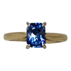 Vivid Blue 1.55ct Ceylon Sapphire Fancy Emerald Octagon Cut 18k Solitaire Ring