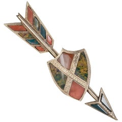 Antique Victorian Scottish Agate Arrow And Shield Brooch 18ct Gold Circa 1860