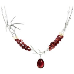 18 Karat White Gold Bamboo Necklace with Garnets and Pearls