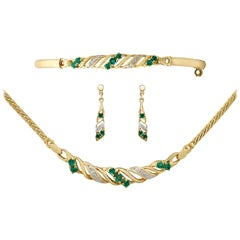 1990s Vintage Emerald and Diamond Yellow Gold Jewellery Suite