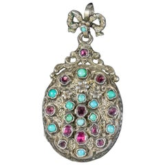 Antique Georgian Renaissance Garnet Turquoise Forget Me Not Locket circa 1800 Bo