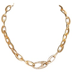 Beautiful Designer Chain Necklace from Pomellato, 18k Rose Gold with Diamonds