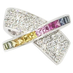 White Gold Diamond and Multicolored Sapphire Crossover Ring