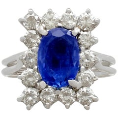 1980s 2.18 Carat Sapphire 1.43 Carat Diamond Gold Cocktail Ring
