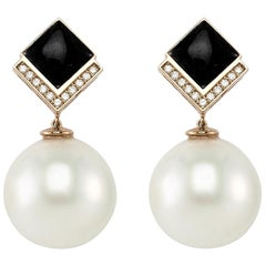 14 K Rose Gold Art Deco Earrings with Pearls