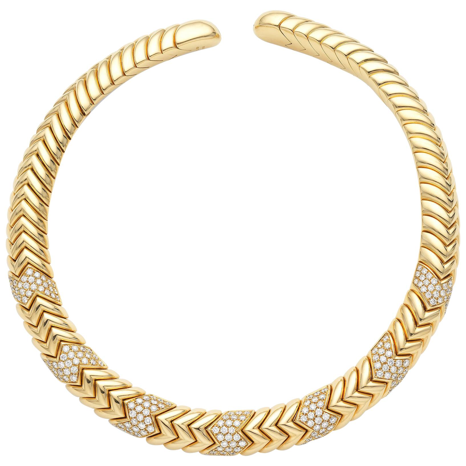 Bulgari Yellow Gold Diamond Collar Necklace